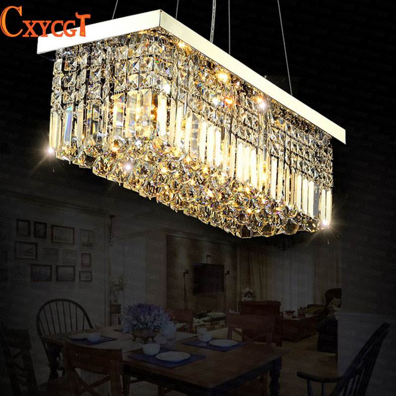 Led modern rectangular crystal chandelier light fixture for Rectangular dining room light