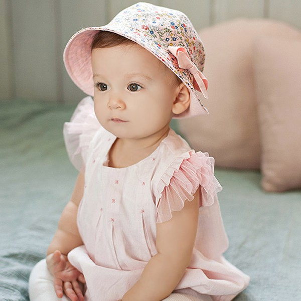 Kids BabH Sweet Little Flower Sun Hat Children Gift Floral Bowknot Beach Sun Bucket Caps H6