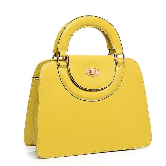 Bolso Amarillo Nuevas Mujeres Divididas Cremallera Del Color Del Caramelo de Cuero Bolsos de Mano del Totalizador Del Bolso Famoso Diseñador de la Marca Casuales N208