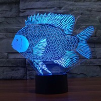 3D Fish Night Light Table Lamp Indoor Led Lamp Night Lighting DIM 7 Color Changing Led