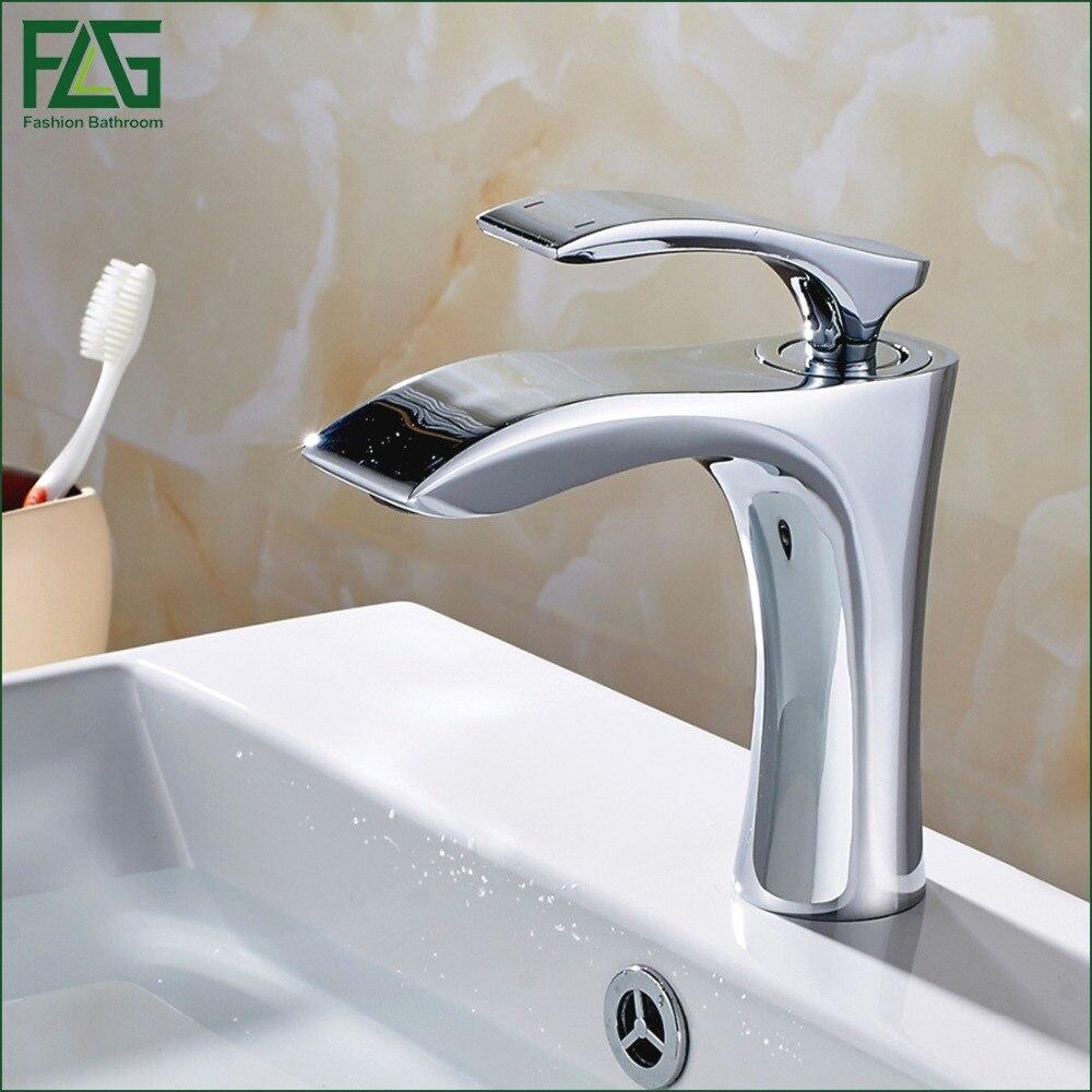 FLG Chrome True Brass Bathroom Faucet Cold Hot Single Handle Deck Mounted  Basin Mixer Single Hole