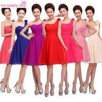 قصيرة متعددة الألوان العروسة bridesmaide العرائس خادمة فساتين خمر العروس واحد كتف الشيفون bridemaid اللباس b1181