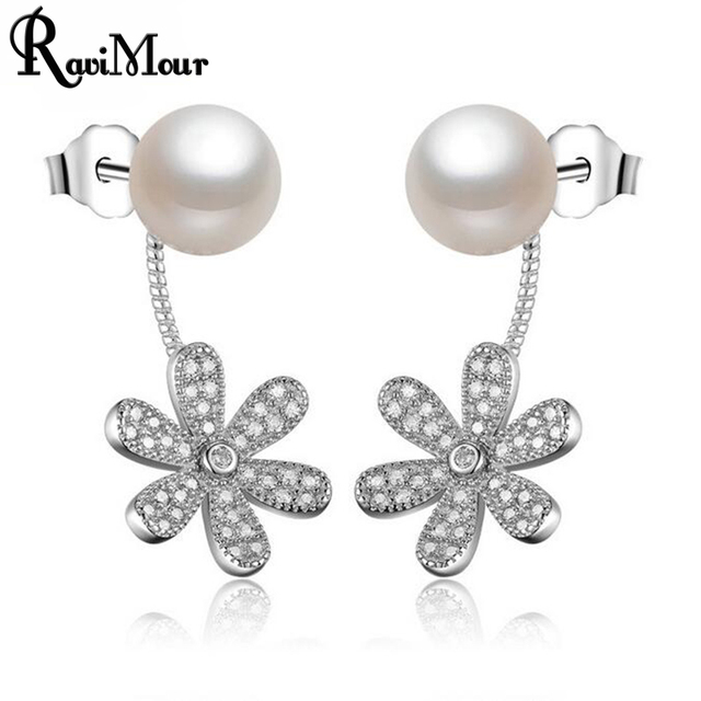 a326a65fedafaf RAVIMOUR Copper Flower Created Pearl Earrings Women Wedding Jewelry Fashion  Double Sided Cubic Zircon Stud Earring Brincos Femme