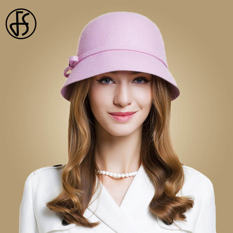 4b94b7ae1c5 FS Wide Brim Fedora Hat For Women Wool Felt Winter Ladies Bowknot Elegant  Blue Pink Bowler