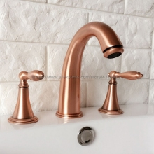 Red Copper Antique Double Handle Basin Faucet Deck Mounted Bathroom Tub Sink Mixer Taps Widespread 3 Holes Nrg036 цена в Москве и Питере