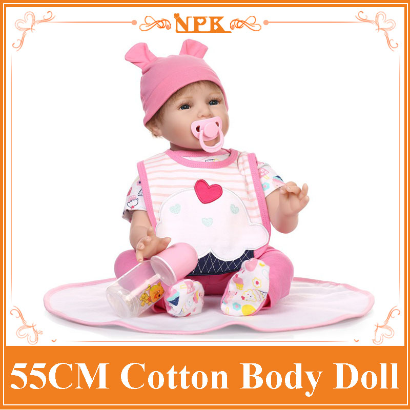 Happy Smile 55cm 22'' NPK Brand Real Baby Baby Doll With Real Cotton Made Two-Piece Suit Best Bebes Reborn As Educational Doll navy monkey with smile