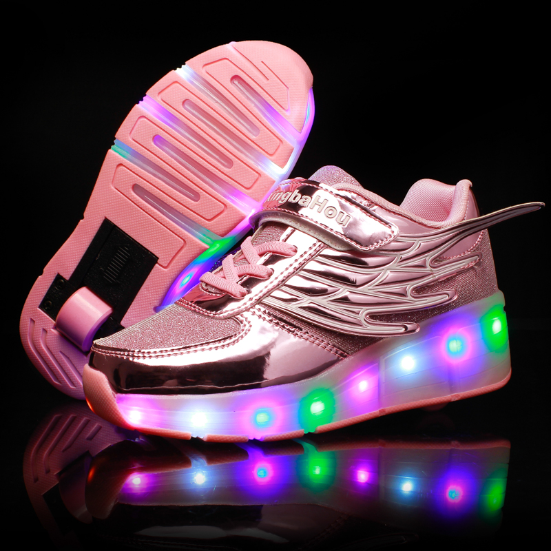 New LED Heelys Shoes With Wing Automatic Lamp Flashing Sport Casual Shoes Kids Sneakers Fashion Breathable For Boys Girls PINK