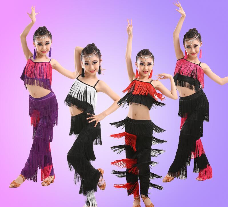 2019 Latin Dance Dresses For Sale Ballroom Plus Size Fringe Tassel Dress Pants Sequin Fringe Salsa Samba Costume Kids Girls