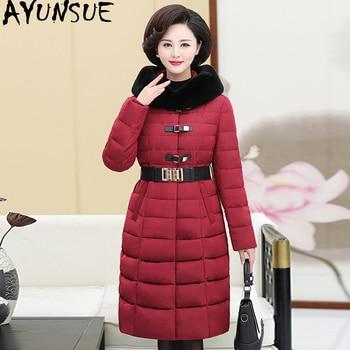 AYUNSUE 2020 Women's Down Jacket Hooded Long Winter Coat Women Plus Size Rabbit Fur Collar Warm Women's Jackets 163 KJ2590