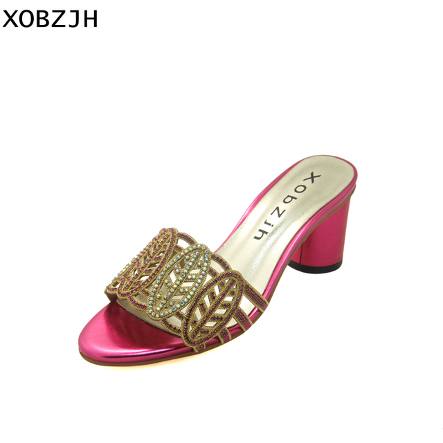 34d488f978 US $42.6 29% OFF| XOBZJH Shoes Women Summer 2018 Sexy Ladies Shoes Luxury  Women Fashion Party Peep Toe Rhinestone Block Heel Sandals 2.5 Inch -in  High ...