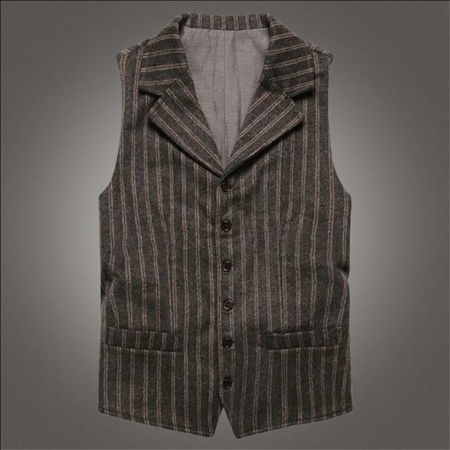 Men Autumn Vest Formal Vintage Style Men'S Clothing Fashion Slim Fit Male Vest Grey Stripped Woolen Waistcoats A2811