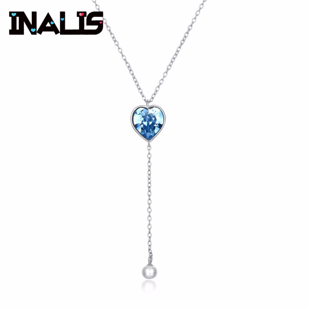 New Long Chain Necklace 925 Sterling Silver Heart Light Blue Natural Austria Crystal with Single Pearl Pendant Jewelry