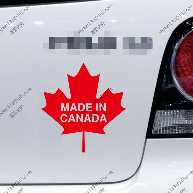 Made in canada maple leaf funny canadian car truck decal bumper sticker windows vinyl die cut