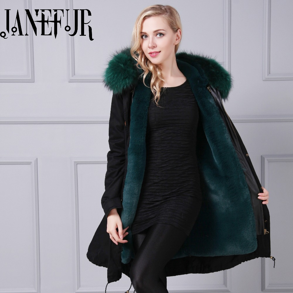 New Winter Coat Women Jacket Coats Thick Parkas Real Raccoon Fur Collar Hooded Fake Fur Lining Outwear 2017 winter new clothes to overcome the coat of women in the long reed rabbit hair fur fur coat fox raccoon fur collar