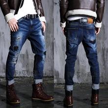 Сумасшедший продвижение! синий 2016 новое прибытие осень зима корейского бренда джинсы мужские тонкие брюки нищий отверстие патч джинсы брюки