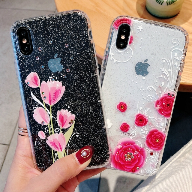 uk availability 7f94b 73d86 US $2.74 20% OFF|Coque for iPhone 8 Plus Case Tulip Rose Glitter Rhinestone  Phone Case for iPhone 7 6 6S 8 Plus iPhone X Case Cover Carcasa Women-in ...