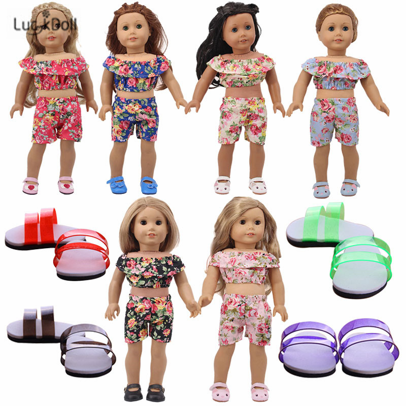 LUCKDOLL Flower Short Sleeve Shorts Set Fit 18Inch American 43cm BabyDoll Clothes Accessories,Girls Toys,Generation,Birthday Gif
