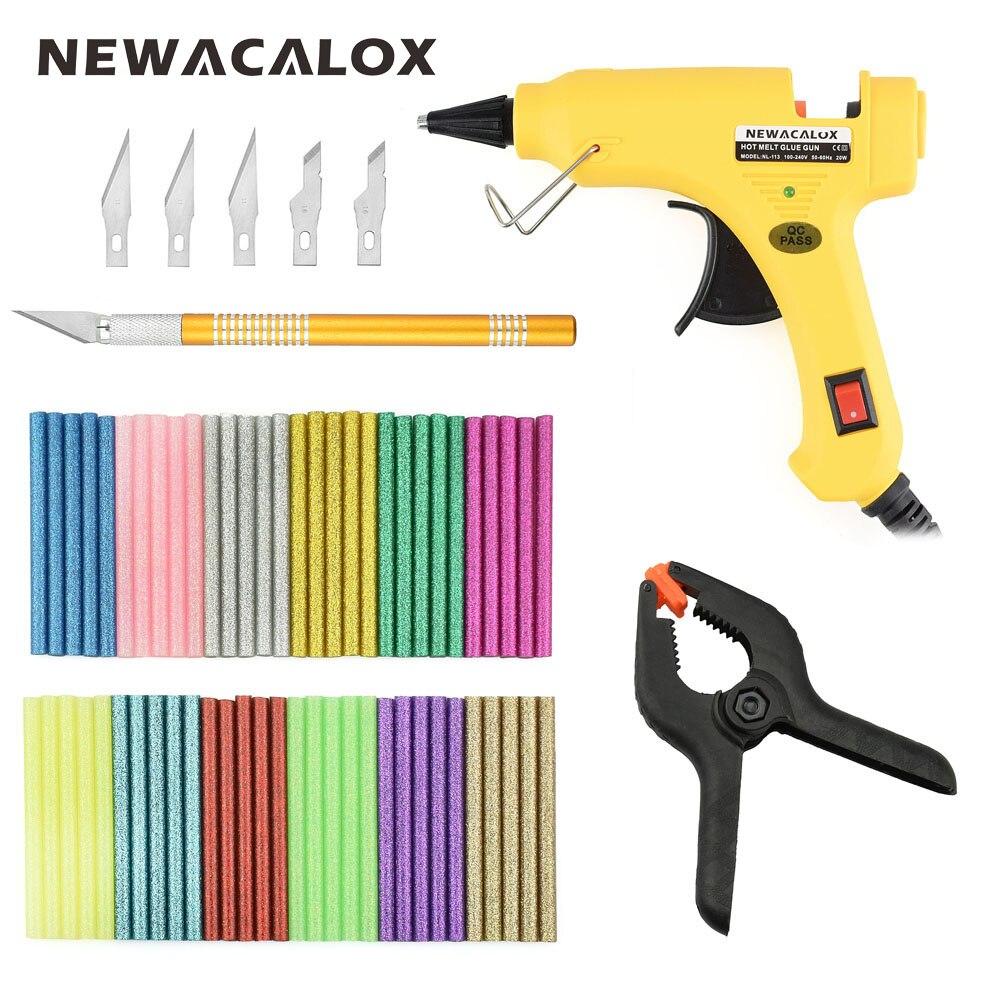 Newacalox ЕС Plug 20 Вт термоклей пистолет комплект с 60 шт. 7 мм x 100 мм Красочные термоклей палочки хобби Ножи для DIY ручной инструмент
