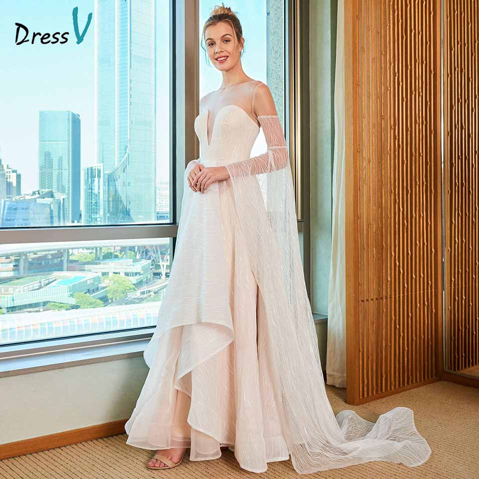 Dressv elegant a line wedding dress scoop neck button lace long sleeves floor length bridal outdoor&church wedding dresses