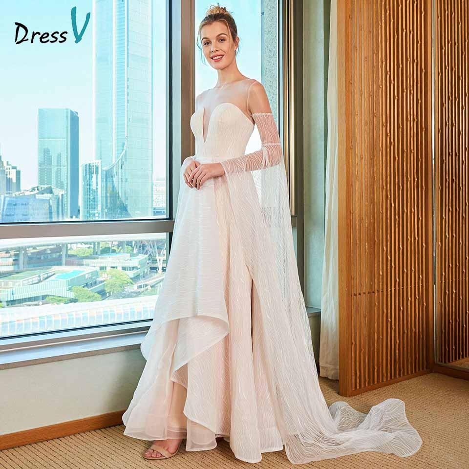 Dressv elegant a line wedding dress scoop neck button lace long sleeves floor length bridal outdoor&church wedding dresses