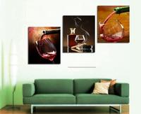 Ücretsiz gemi 3 Panel Modern Baskılı çiçekler Boyama Resim Kırmızı Şarap Tuval Boyama Duvar Sanatı Ev Dekor Oturma Odası Için
