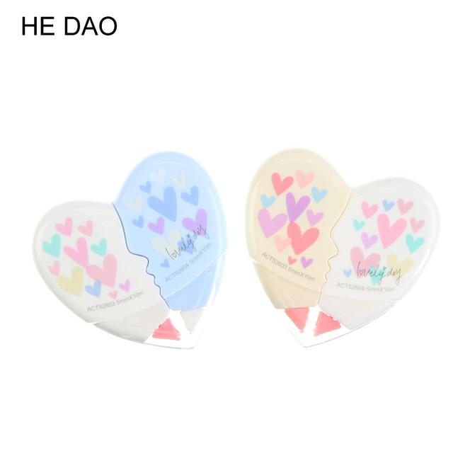 2 Pcs/set Love Heart Correction Tape Material Escolar Kawaii Stationery Office School Supplies Papelaria Correction Supplie
