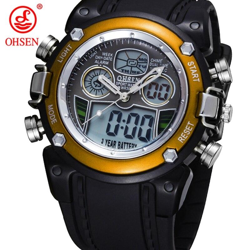 Nova OHSEN LCD Dual Core Homens Rapazes relógios desportivos Alarme Data Dia Elástico cronômetro de pulso preto Dive Swim Militar Assista