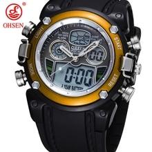 Venda quente OHSEN Dual Core Meninos Sports Watch Data do Alarme dia Rubber Band Analógico Relógio de Pulso de Choque À Prova D' Água Relógio Militar Relogio
