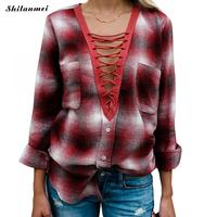 Fashion Plaid Shirts Women Long Sleeve Female Tops Low V Neck Sexy Lace Up Loose High
