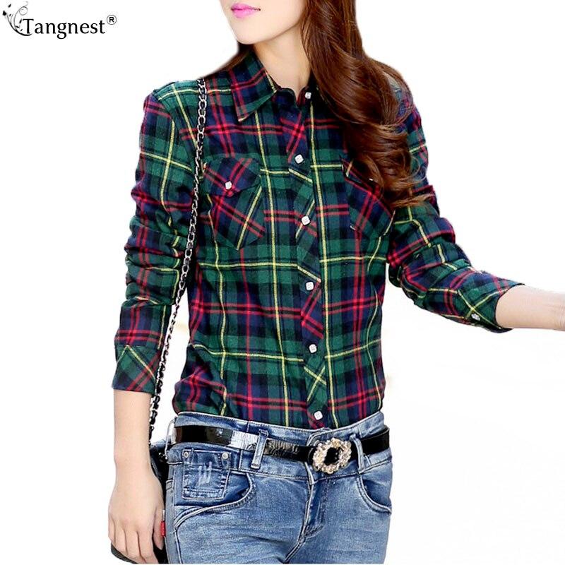 Tangnest camisa de tela escocesa mujeres 2017 más el tamaño m-2xl mujeres grueso