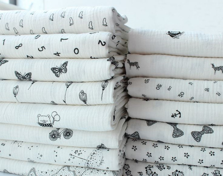 100% Cotton Black Pattern Double Gauze Soft Fabric 140cm width 125 ...