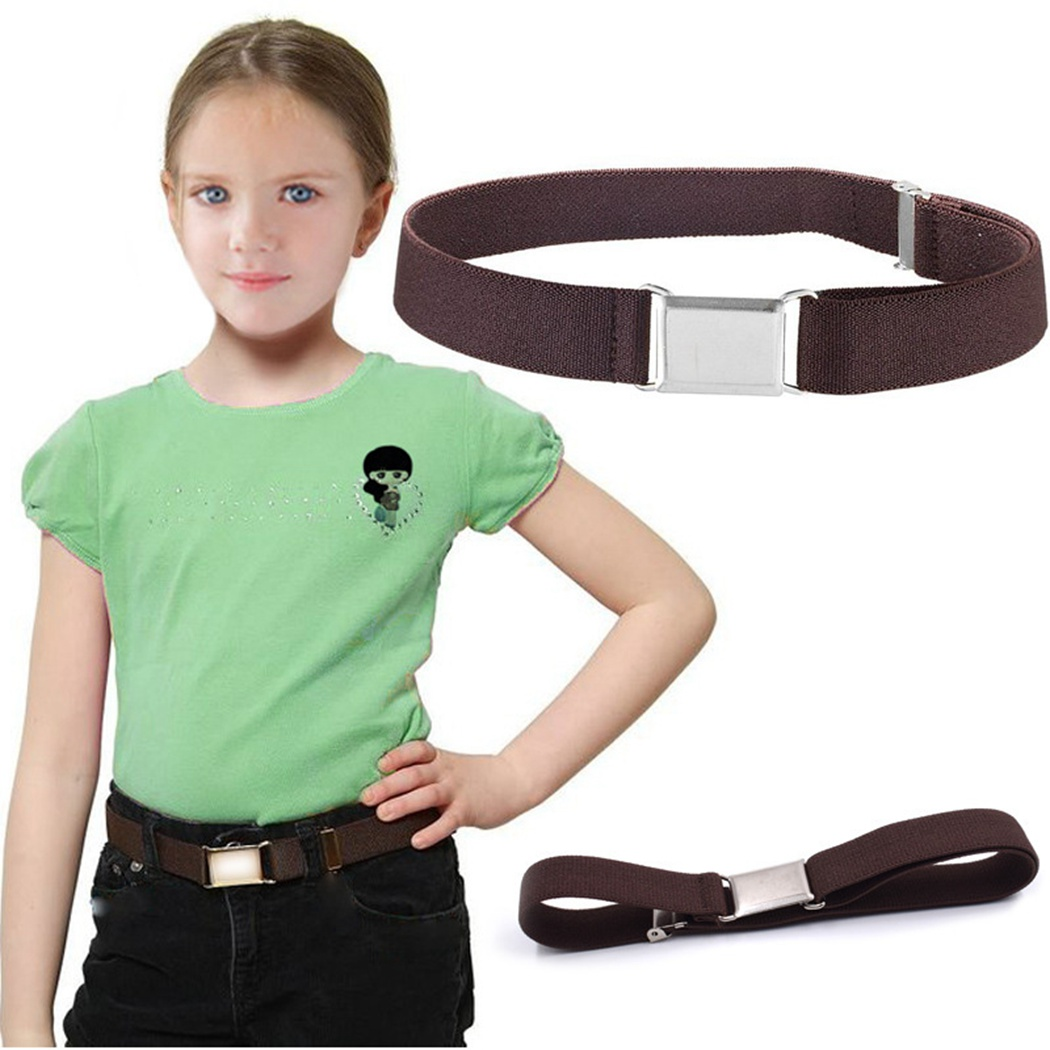 Solid Color High Elastic Adjustable Waistband Alloy Buckle Kids Canvas Belt