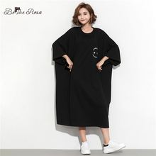 BelineRosa 2019 Womens T-Shirt Dress Large Size Women Clothing Batwing Sleeve 5XL 6XL Oversized Plus Dresses HS000614