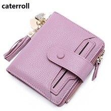 Купить с кэшбэком short women wallets genuine leather tassel small wallet luxury brand mini womens wallets and purses with card holder