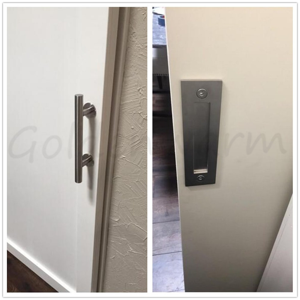 Flush Door Pulls Handles Set Ls08bsn Brushed Nickel Sliding Barn