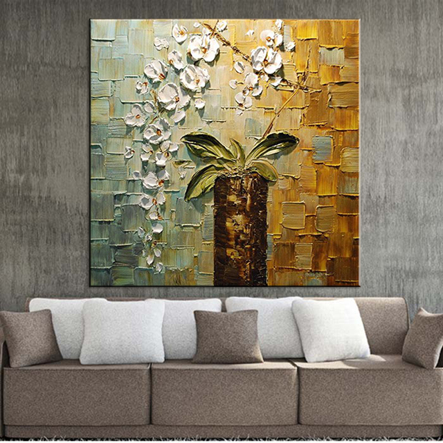 Hand Painted Modern Home Decor Room Hall Wall Art Picture White Orchid Flower Thick Colors