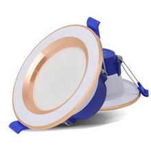 LED Downlight Discolourable 6W Spot Round Recessed Light AC220V 3Color Bedroom Kitchen Indoor Lighting