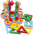 Wooden Educational wisdom toy 1pc motor skills 3D column game Early Development safety wood infant baby gift