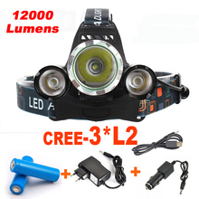 12000LM Headlamp XM-L 3*L2 Rechargeable CREE LED Headlamp Headlight  Camp Lamp Head Torch+Ac/Usb/CAR Charger+18650 Battery