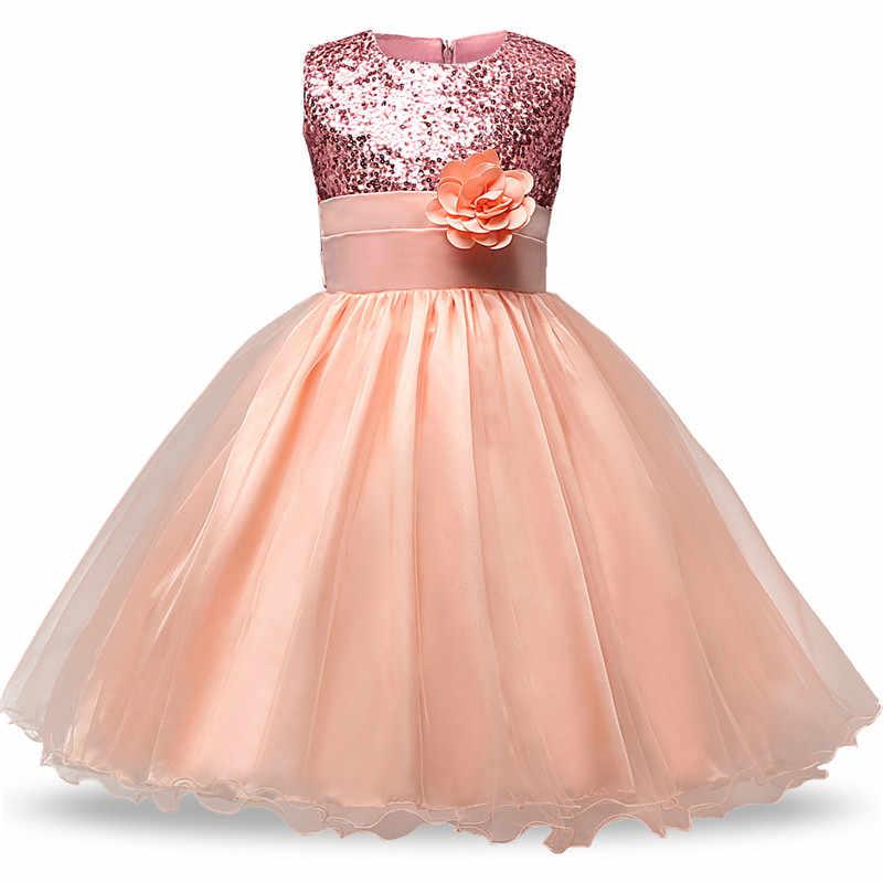 1717e675d 3-12yrs verano Navidad linda flor niñas vestido lentejuelas malla chica ropa  sin mangas princesa