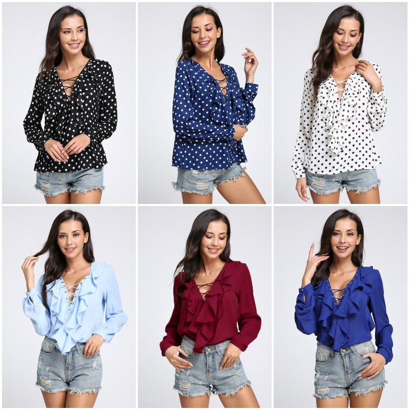 Celmia Womens Summer Blouse 2018 Chiffon Blouse Sexy Top Lace Up V Neck Ruffle Long Sleeve Shirt Casual Plus Size Blusa Feminina 5