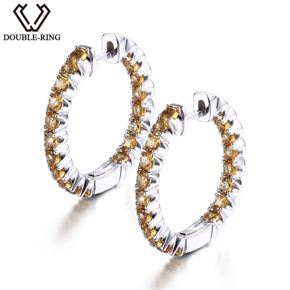 DOUBLE-R Genuine Natural Citrine Earrings For Women Real 100% 925 Sterling Silver Fine Wedding Jewelry Hoop Earrings 2016 custom jewelry ebay hot sell men stone bezel setting cz cubic zirconia wedding band rings