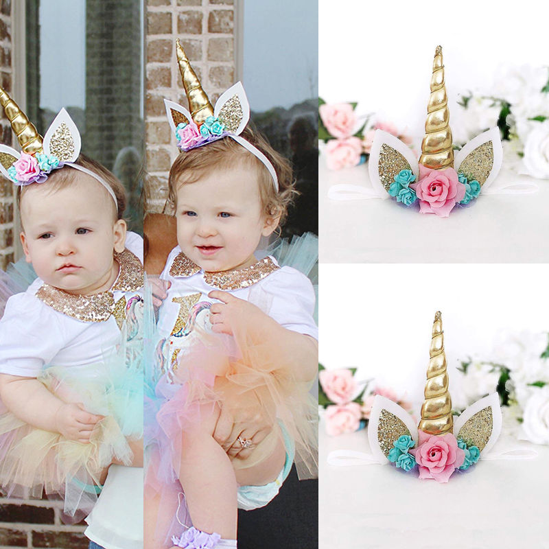 Magical Gold Unicorn Horn Head Party Kid Diadema Disfraz Cosplay Accesorios de fotografía decorativa