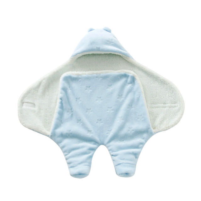 Hoodie Baby Receiving Blanket Coral Fleece Baby Blanket Spring Autumn Swaddleme Infant Wrap Sleeping Bag Manta Parisarc AB139