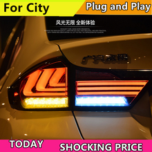 Car Styling Case For HONDA City Taillights 2015-2017 LED Tail Light LED Rear Lamp DRL+Brake+Reversing+Signal LIGHT Accessories car styling tail lights for toyota highlander 2012 2014 taillights led tail light rear lamp drl brake signal auto accessories