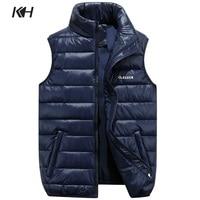 KH New Men's Fashion Winter Waistcoat Vest Mens Sleeveless Outerwear Coat Man Casual Thicken Warm Down Vests Plus size S~6XL