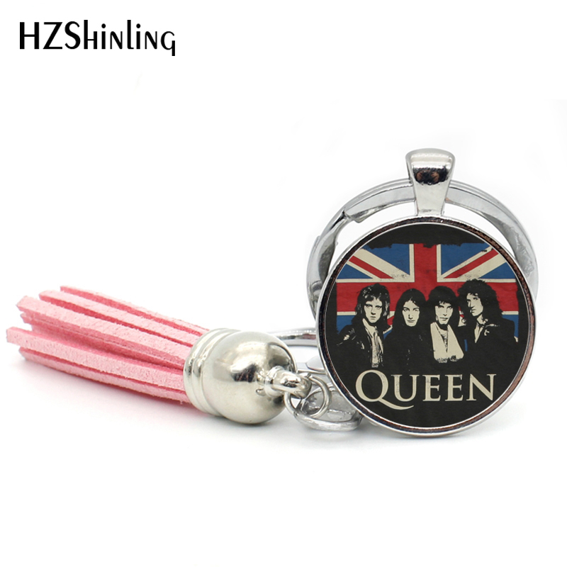 2017 New Fashion Rock Band Queen Bohemian Rhapsody Tassel Key Chain Round Queen Band Art Photo Glass Dome Keyring Gifts