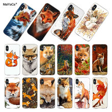 MaiYaCa Para iphone 7 6 X Caso Bonito Fox Em folhas de Outono floresta 6 Transparente Caso Soft Phone Para iphone XS XR 7 7 6s mais caso(China)
