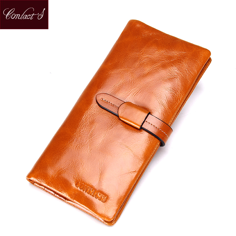 Contact's 2017 Genuine Leather Women Wallet Fashion Brand Real Cowhide Wallet Long Design Clutch Female Purse With Card Holder new brand genuine leather purse for women real leather women s wallet clutch bag women long wallet purse carteira 2016
