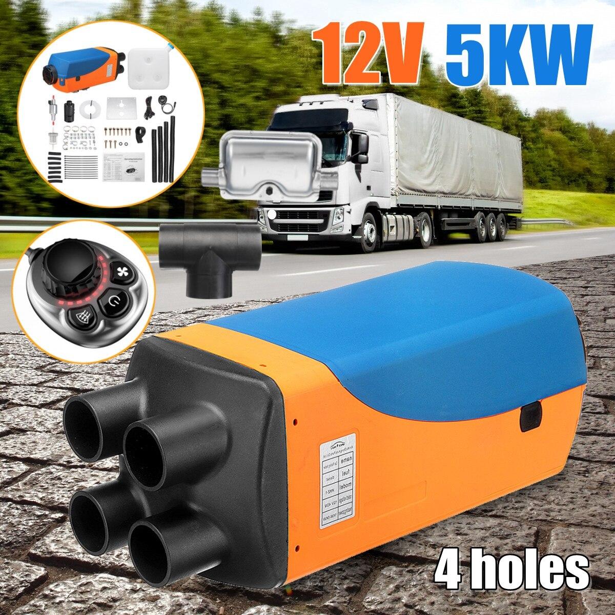 Nouveau 5KW 12 v D'air Diesel de Voiture de Stationnement Chauffe-Réservoir 4 trous 2 xVent Conduit Thermostat Caravane Camping-Car Interrupteur à Bouton chauffage Avec Silencieux